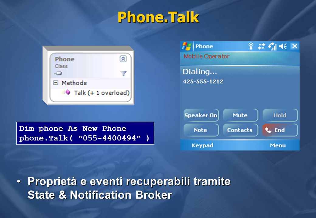 Phone.Talk Proprietà e eventi recuperabili tramite State & Notification BrokerProprietà e eventi recuperabili tramite State & Notification Broker Dim