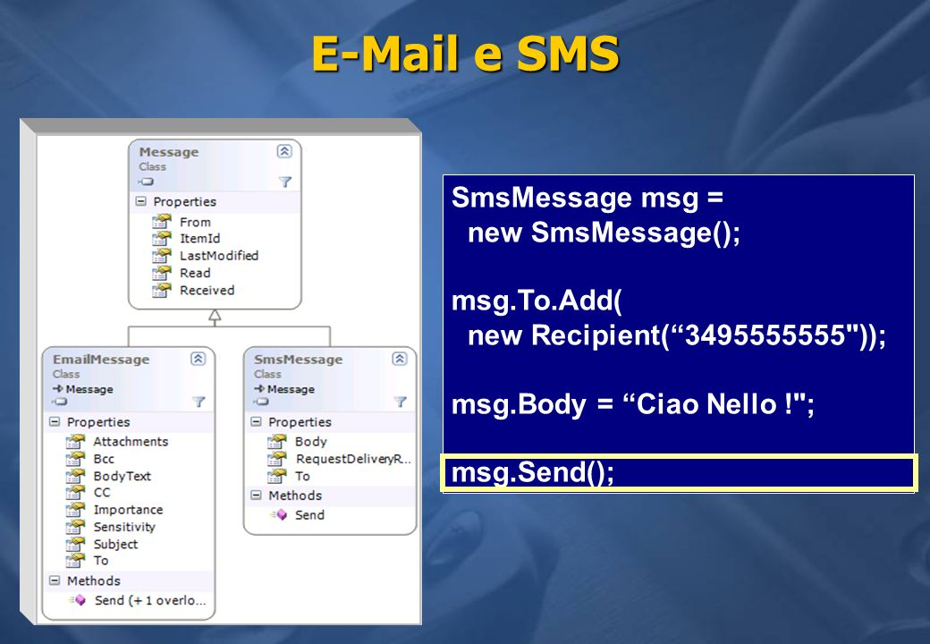 E-Mail e SMS SmsMessage msg = new SmsMessage(); msg.To.Add( new Recipient(3495555555