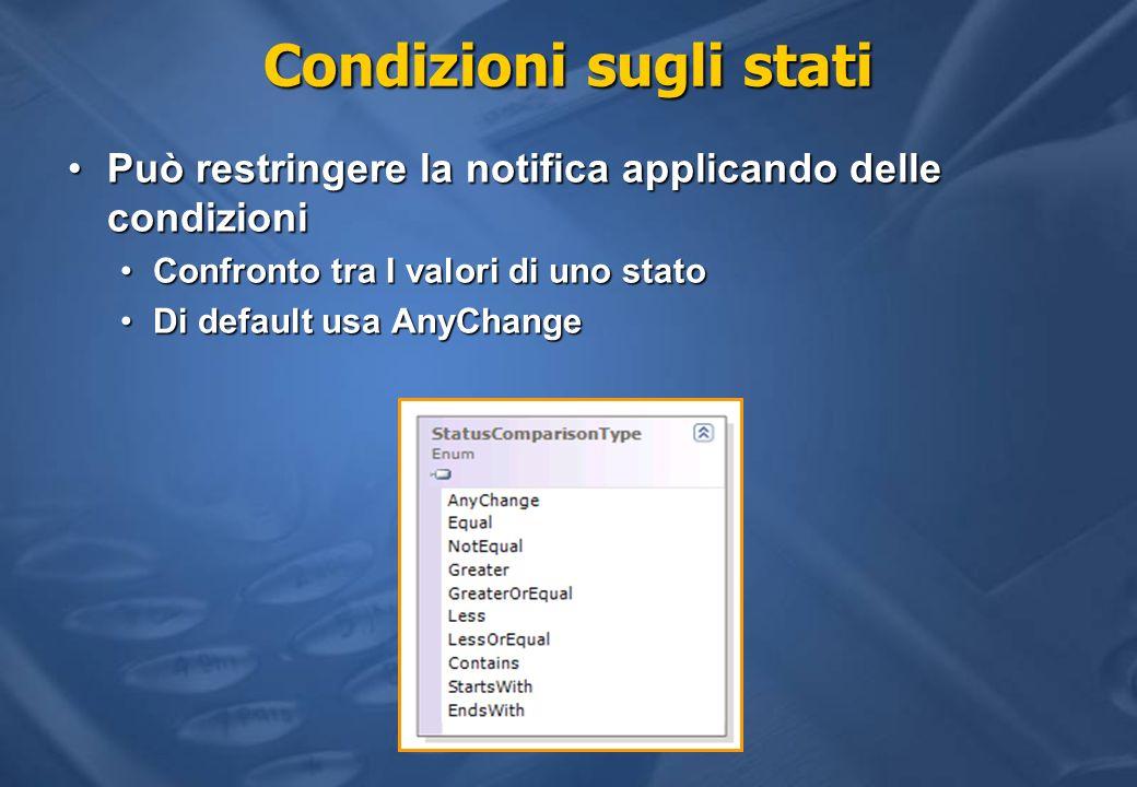 Condizioni sugli stati Può restringere la notifica applicando delle condizioniPuò restringere la notifica applicando delle condizioni Confronto tra I