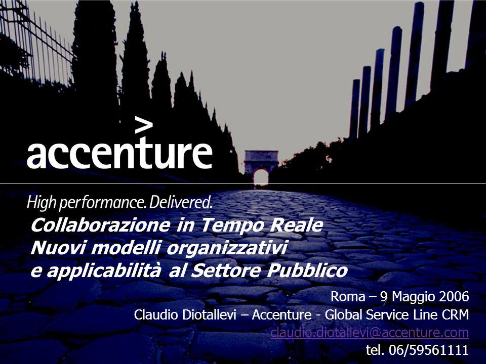 Collaborazione in Tempo Reale Nuovi modelli organizzativi e applicabilità al Settore Pubblico Roma – 9 Maggio 2006 Claudio Diotallevi – Accenture - Gl