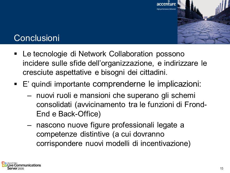 15 Conclusioni Le tecnologie di Network Collaboration possono incidere sulle sfide dellorganizzazione, e indirizzare le cresciute aspettative e bisogn