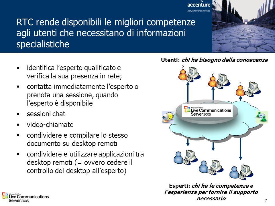 7 RTC rende disponibili le migliori competenze agli utenti che necessitano di informazioni specialistiche Utenti: chi ha bisogno della conoscenza Espe