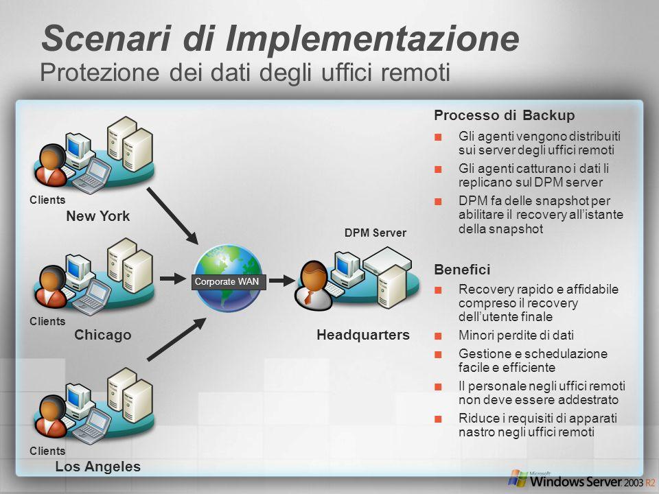 Scenari di Implementazione Protezione dei dati degli uffici remoti Processo di Backup Gli agenti vengono distribuiti sui server degli uffici remoti Gl