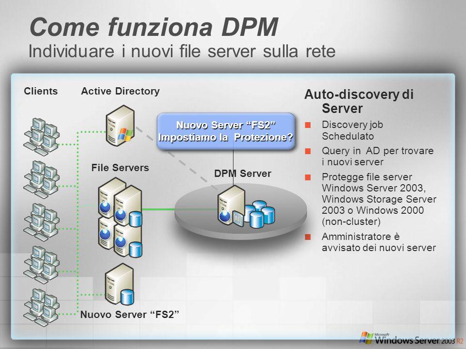 Auto-discovery di Server Discovery job Schedulato Query in AD per trovare i nuovi server Protegge file server Windows Server 2003, Windows Storage Ser