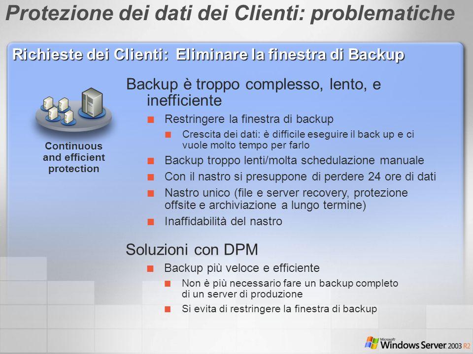 Continuous and efficient protection Backup è troppo complesso, lento, e inefficiente Restringere la finestra di backup Crescita dei dati: è difficile