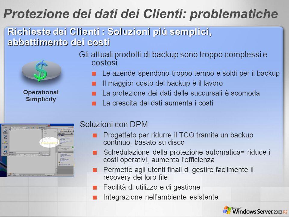Gli attuali prodotti di backup sono troppo complessi e costosi Le azende spendono troppo tempo e soldi per il backup Il maggior costo del backup è il