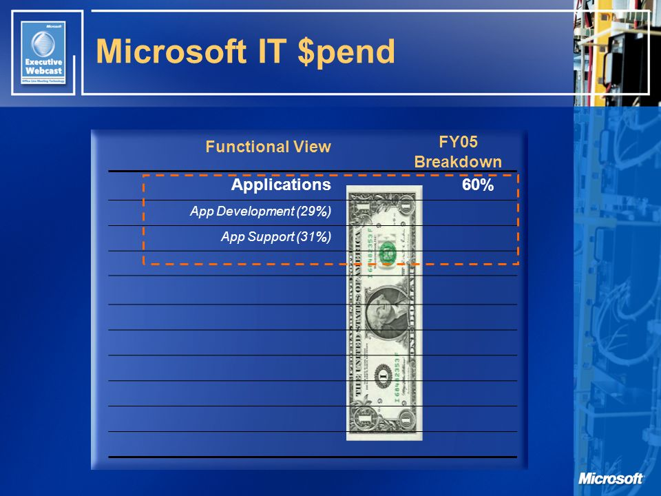 Functional View FY05 Breakdown Microsoft IT $pend Applications60% App Development (29%) App Support (31%)