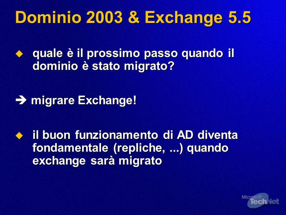 Dominio 2003 & Exchange 5.5 quale è il prossimo passo quando il dominio è stato migrato? quale è il prossimo passo quando il dominio è stato migrato?