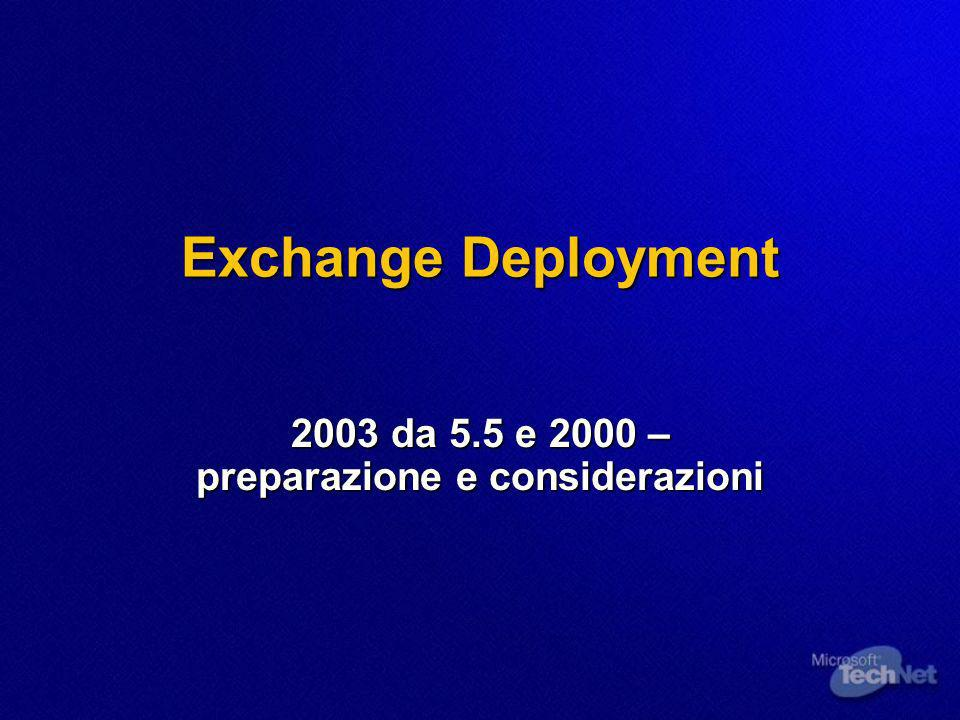Exchange Deployment 2003 da 5.5 e 2000 – preparazione e considerazioni