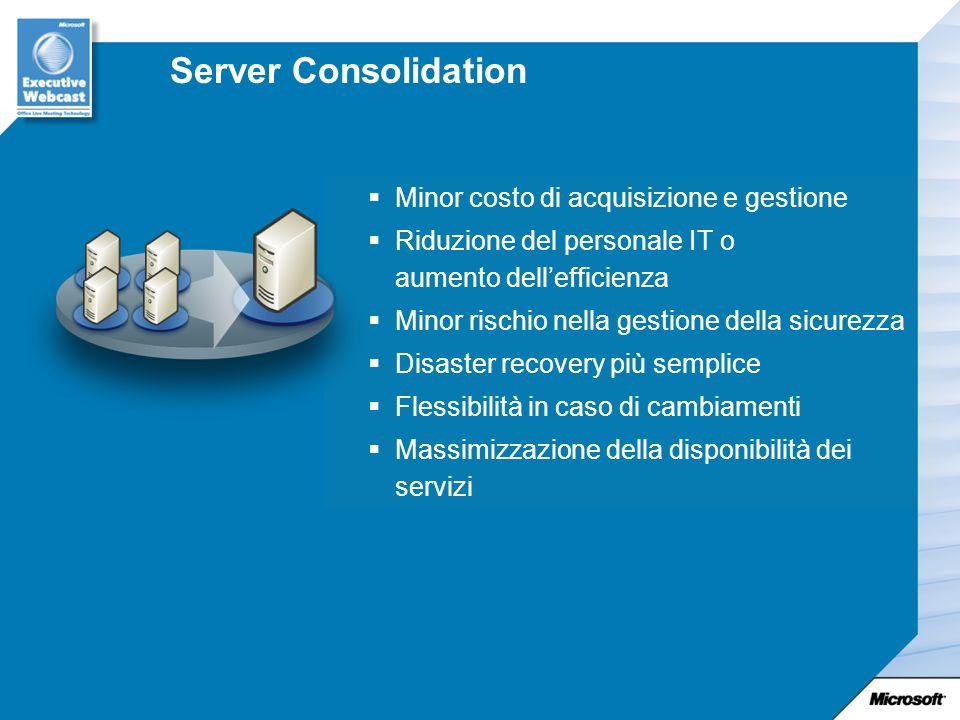 Server Consolidation Minor costo di acquisizione e gestione Riduzione del personale IT o aumento dellefficienza Minor rischio nella gestione della sicurezza Disaster recovery più semplice Flessibilità in caso di cambiamenti Massimizzazione della disponibilità dei servizi