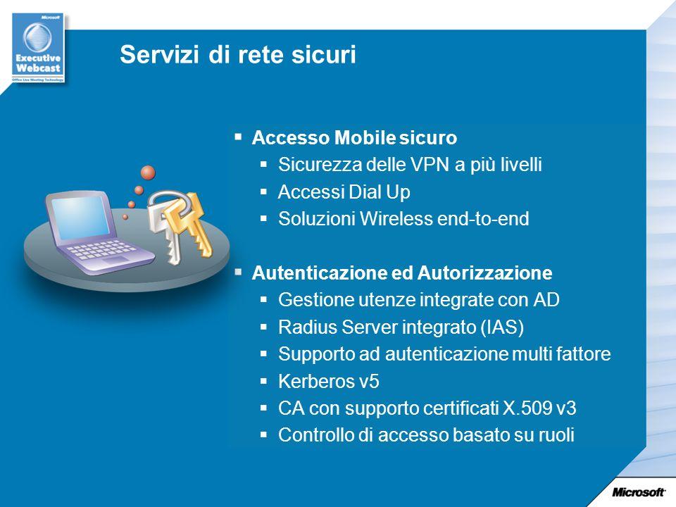 Servizi di rete sicuri Accesso Mobile sicuro Sicurezza delle VPN a più livelli Accessi Dial Up Soluzioni Wireless end-to-end Autenticazione ed Autorizzazione Gestione utenze integrate con AD Radius Server integrato (IAS) Supporto ad autenticazione multi fattore Kerberos v5 CA con supporto certificati X.509 v3 Controllo di accesso basato su ruoli