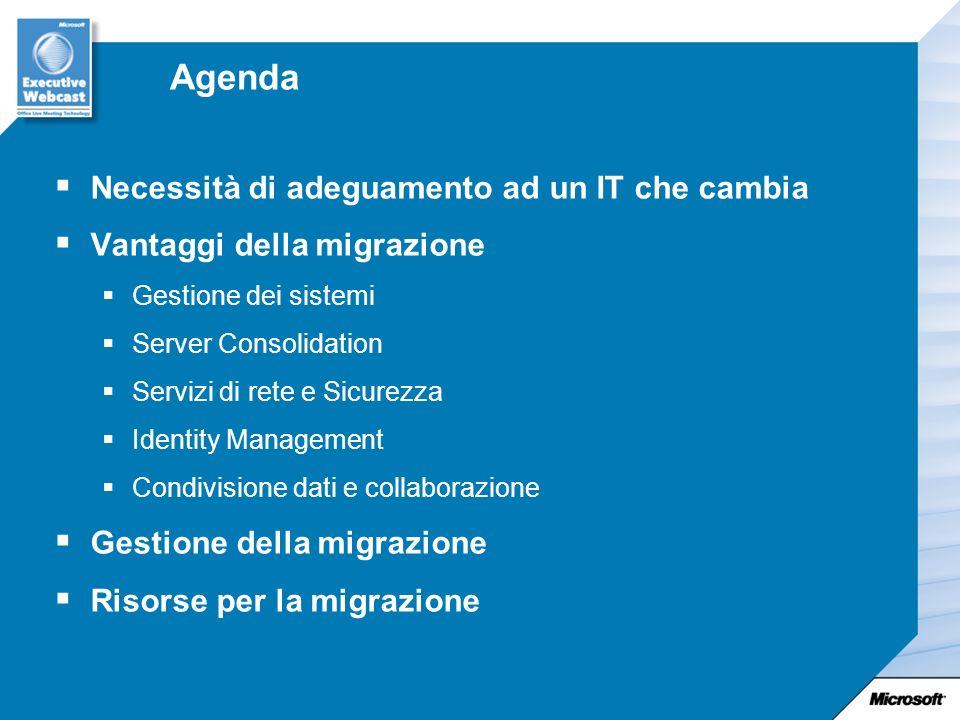 Agenda Necessità di adeguamento ad un IT che cambia Vantaggi della migrazione Gestione dei sistemi Server Consolidation Servizi di rete e Sicurezza Identity Management Condivisione dati e collaborazione Gestione della migrazione Risorse per la migrazione