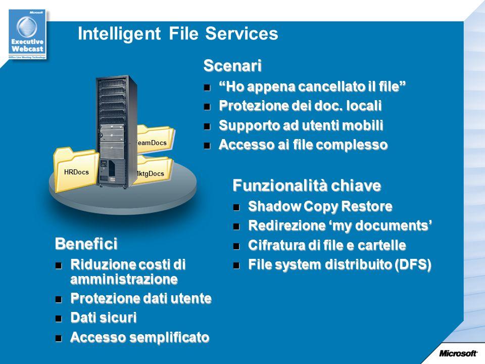 Intelligent File Services Scenari Ho appena cancellato il file Ho appena cancellato il file Protezione dei doc.