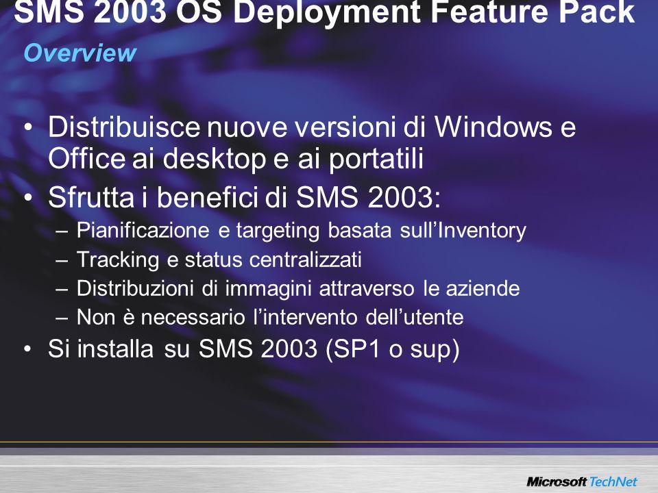 SMS 2003 OS Deployment Feature Pack Overview Distribuisce nuove versioni di Windows e Office ai desktop e ai portatili Sfrutta i benefici di SMS 2003: