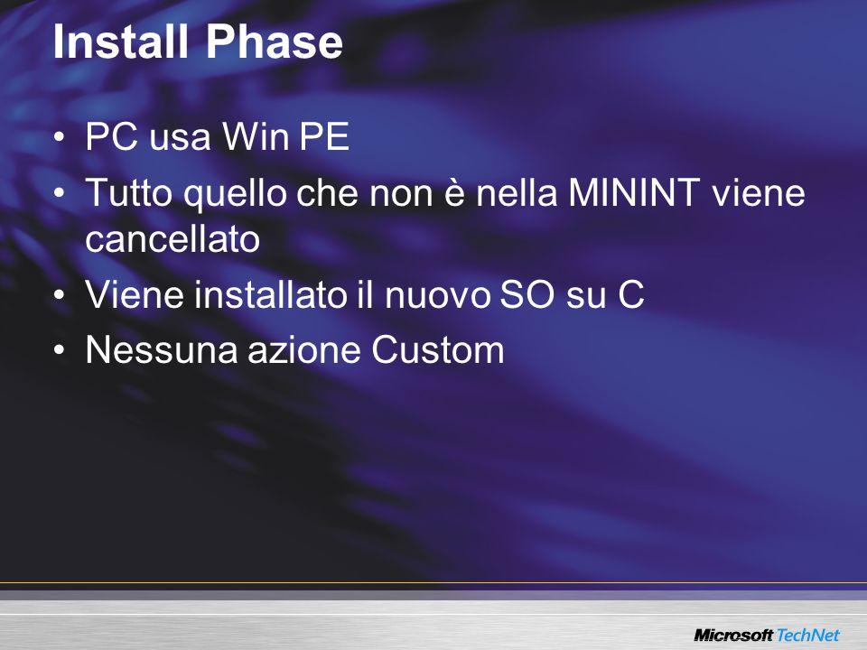 Install Phase PC usa Win PE Tutto quello che non è nella MININT viene cancellato Viene installato il nuovo SO su C Nessuna azione Custom