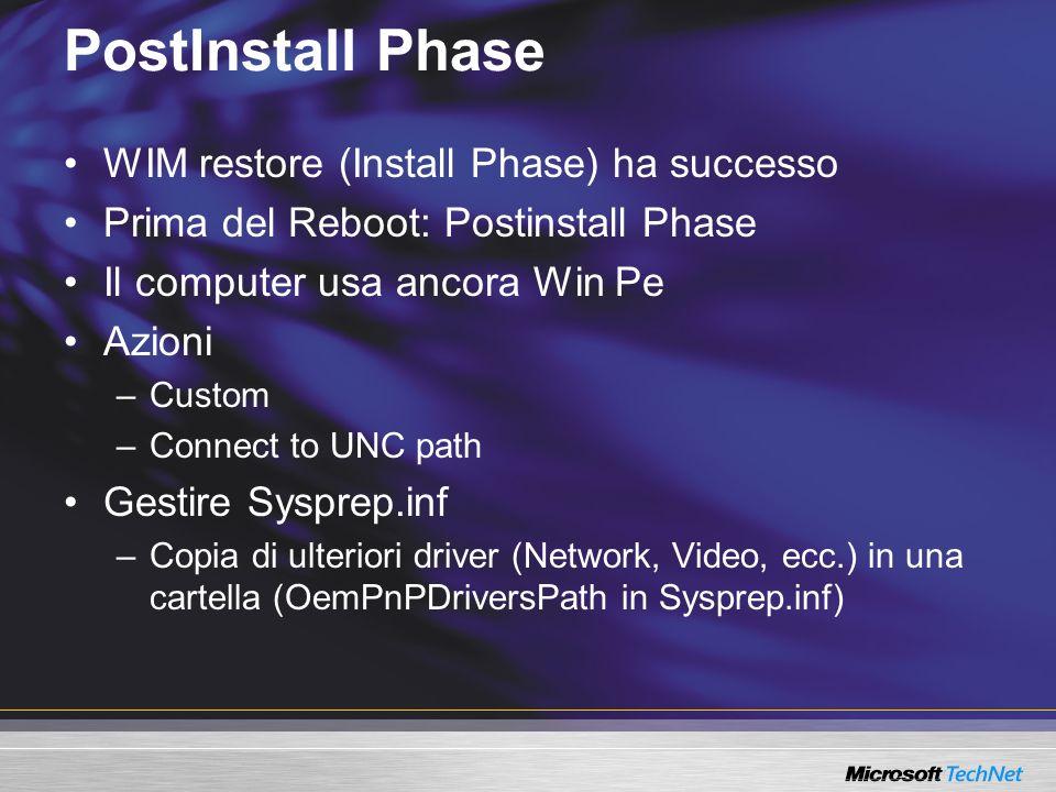 PostInstall Phase WIM restore (Install Phase) ha successo Prima del Reboot: Postinstall Phase Il computer usa ancora Win Pe Azioni –Custom –Connect to UNC path Gestire Sysprep.inf –Copia di ulteriori driver (Network, Video, ecc.) in una cartella (OemPnPDriversPath in Sysprep.inf)
