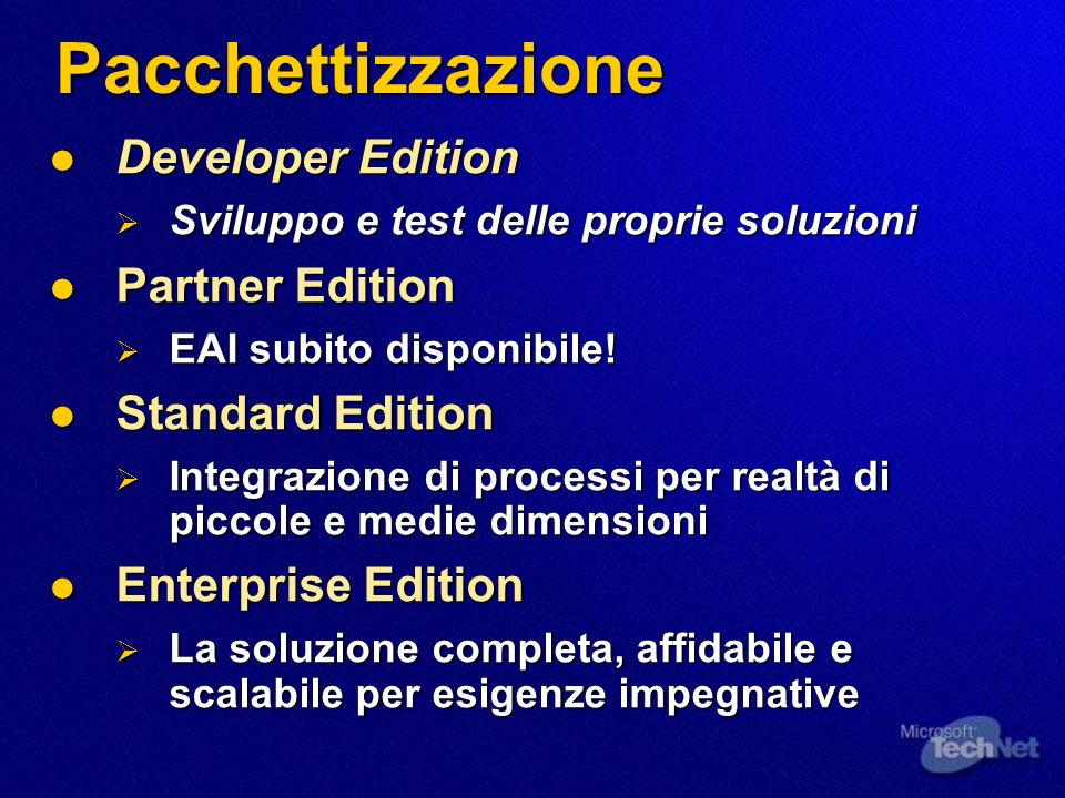 Adapter di Tecnologia Messaging Bus Routing Services Declarative Routing Content Based Publish/Subscribe Adapter di Applicazione Architettura Hub & Spoke Receive Services HTTPSMTPMSMQMQSeriesFileWebService Applicazione A Applicazione B Applicazione C Applicazione D Applicazione E Applicazione F Adapter di Applicazione Adapter di Applicazione Delivery Services Business Process Transformation Services XMLEDIFlatCustom