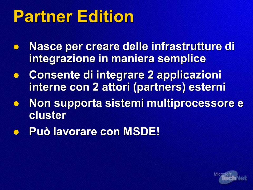 Pacchettizzazione Developer Edition Developer Edition Sviluppo e test delle proprie soluzioni Sviluppo e test delle proprie soluzioni Partner Edition Partner Edition EAI subito disponibile.