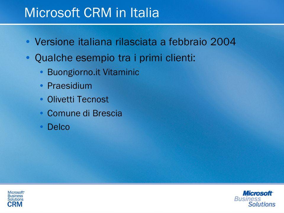 Microsoft CRM in Italia Versione italiana rilasciata a febbraio 2004 Qualche esempio tra i primi clienti: Buongiorno.it Vitaminic Praesidium Olivetti