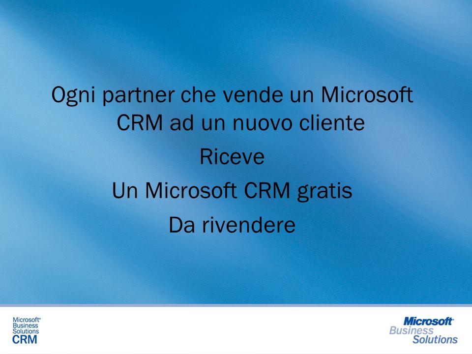 Ogni partner che vende un Microsoft CRM ad un nuovo cliente Riceve Un Microsoft CRM gratis Da rivendere