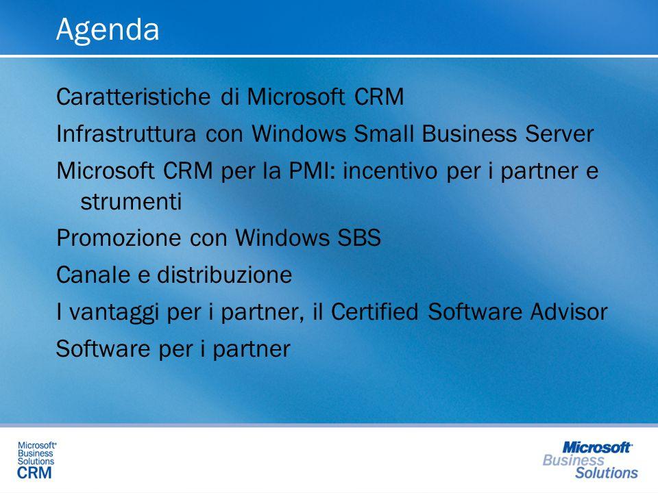 Agenda Caratteristiche di Microsoft CRM Infrastruttura con Windows Small Business Server Microsoft CRM per la PMI: incentivo per i partner e strumenti