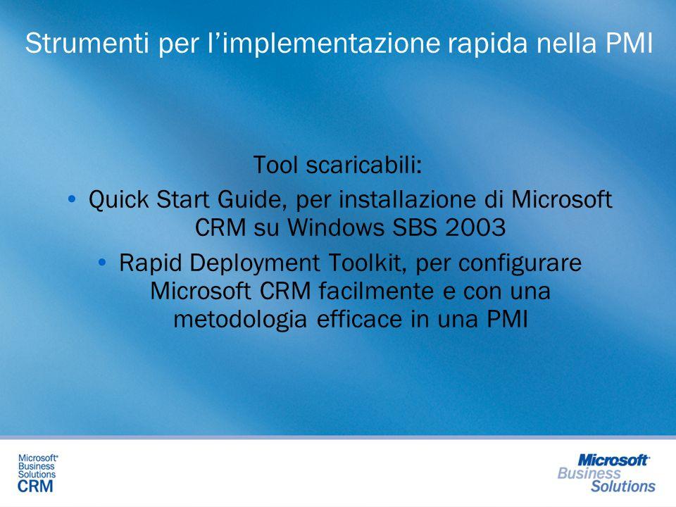 Strumenti per limplementazione rapida nella PMI Tool scaricabili: Quick Start Guide, per installazione di Microsoft CRM su Windows SBS 2003 Rapid Depl