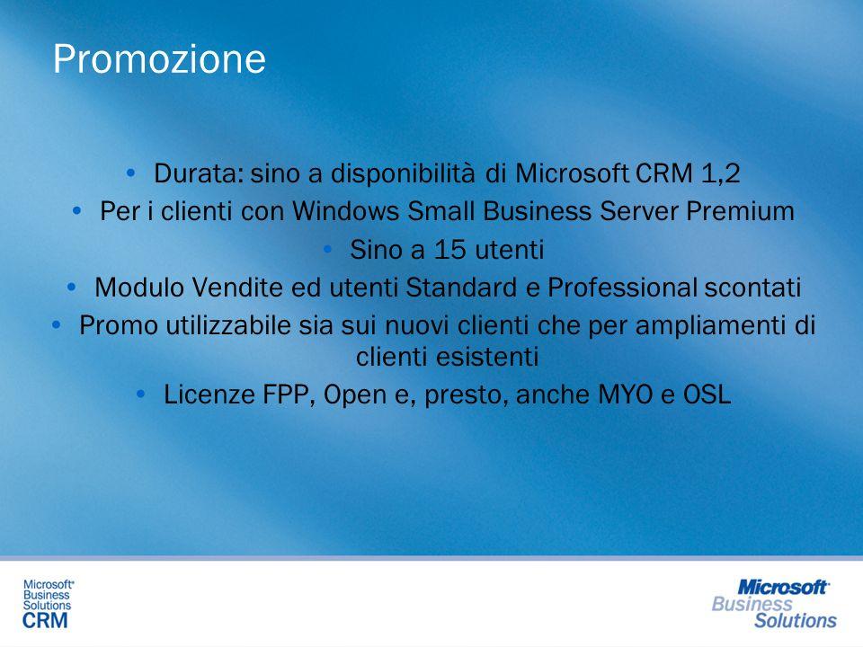 Durata: sino a disponibilità di Microsoft CRM 1,2 Per i clienti con Windows Small Business Server Premium Sino a 15 utenti Modulo Vendite ed utenti St