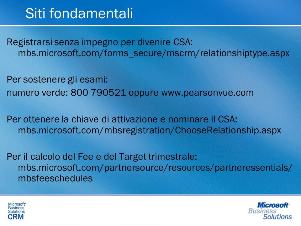 Siti fondamentali Registrarsi senza impegno per divenire CSA: mbs.microsoft.com/forms_secure/mscrm/relationshiptype.aspx Per sostenere gli esami: nume