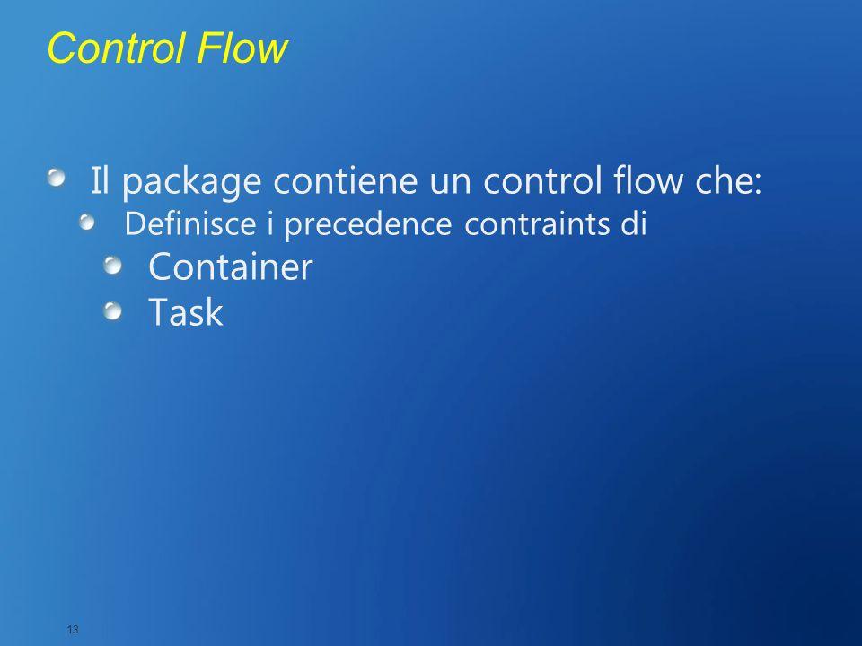 Control Flow Il package contiene un control flow che: Definisce i precedence contraints di Container Task 13