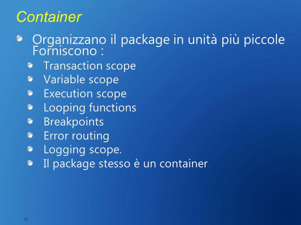 Container Organizzano il package in unità più piccole Forniscono : Transaction scope Variable scope Execution scope Looping functions Breakpoints Erro