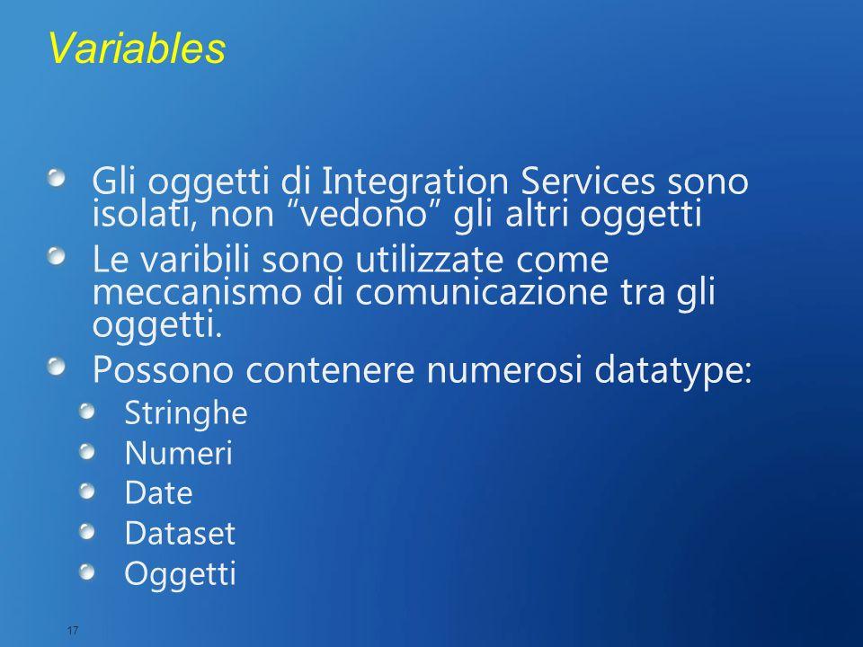 Variables Gli oggetti di Integration Services sono isolati, non vedono gli altri oggetti Le varibili sono utilizzate come meccanismo di comunicazione