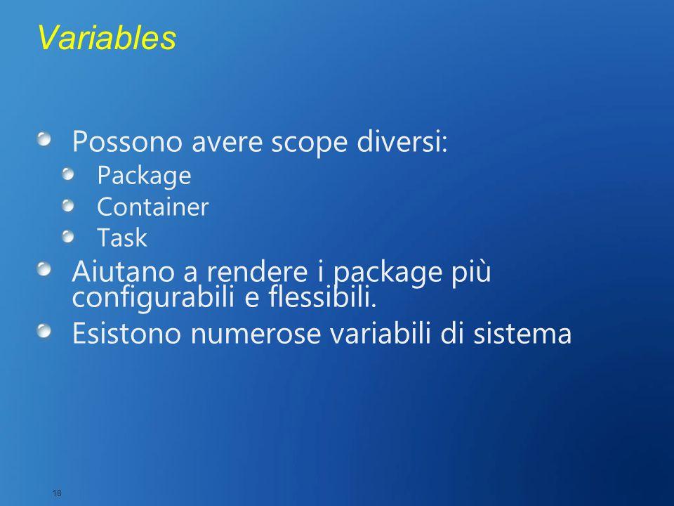 Variables Possono avere scope diversi: Package Container Task Aiutano a rendere i package più configurabili e flessibili. Esistono numerose variabili