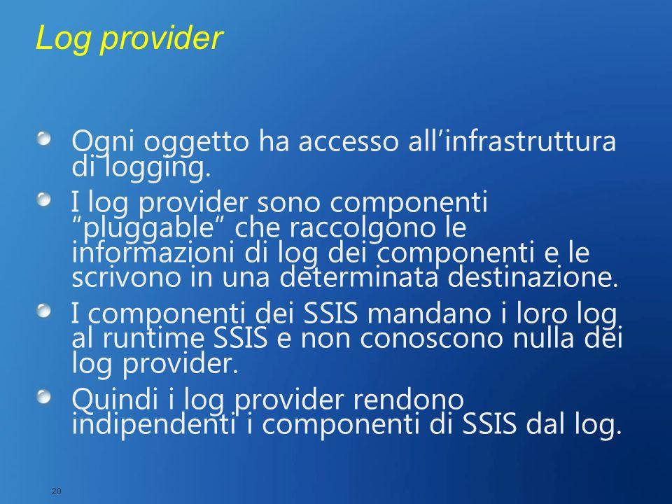 Log provider Ogni oggetto ha accesso allinfrastruttura di logging. I log provider sono componenti pluggable che raccolgono le informazioni di log dei