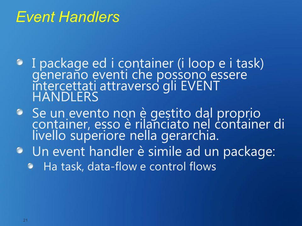 Event Handlers I package ed i container (i loop e i task) generano eventi che possono essere intercettati attraverso gli EVENT HANDLERS Se un evento n