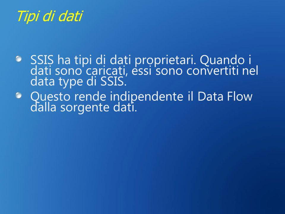 Tipi di dati SSIS ha tipi di dati proprietari. Quando i dati sono caricati, essi sono convertiti nel data type di SSIS. Questo rende indipendente il D