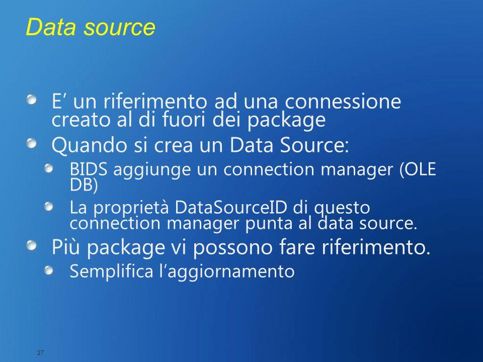 Data source E un riferimento ad una connessione creato al di fuori dei package Quando si crea un Data Source: BIDS aggiunge un connection manager (OLE