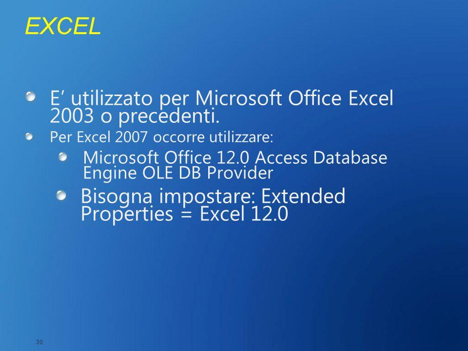 EXCEL E utilizzato per Microsoft Office Excel 2003 o precedenti. Per Excel 2007 occorre utilizzare: Microsoft Office 12.0 Access Database Engine OLE D