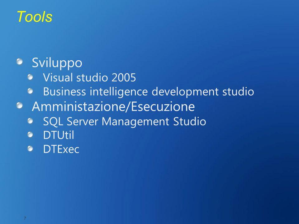 Tools Sviluppo Visual studio 2005 Business intelligence development studio Amministazione/Esecuzione SQL Server Management Studio DTUtil DTExec 7