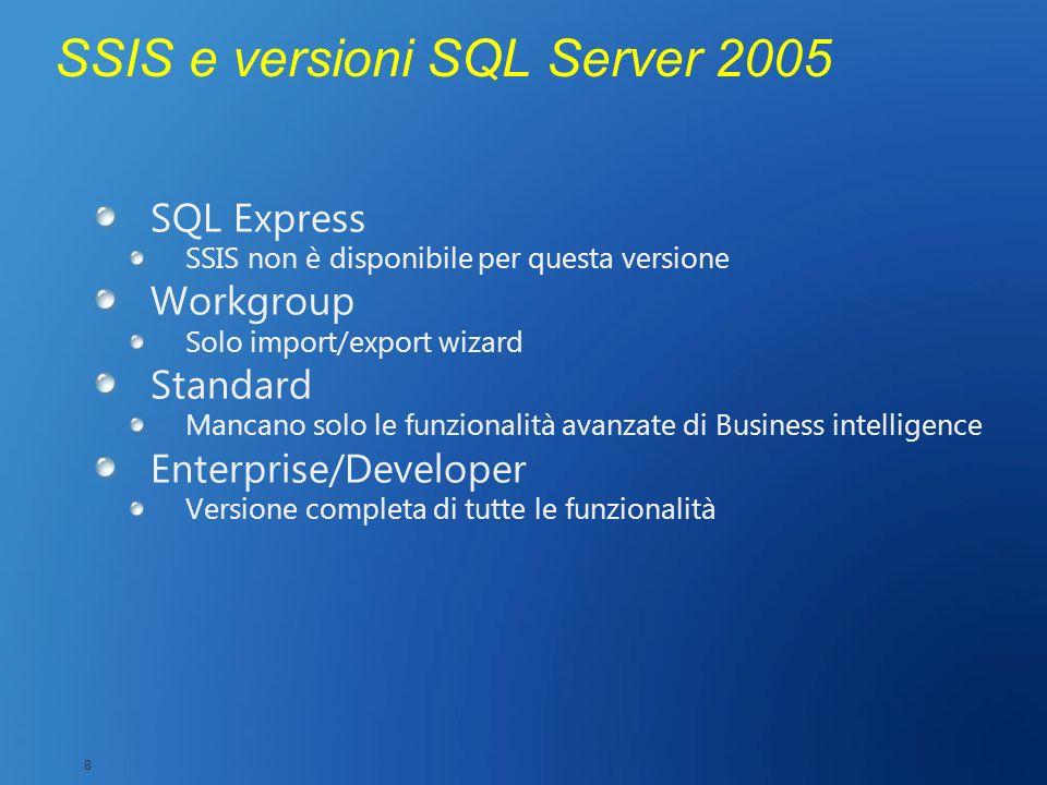 SSIS e versioni SQL Server 2005 SQL Express SSIS non è disponibile per questa versione Workgroup Solo import/export wizard Standard Mancano solo le fu