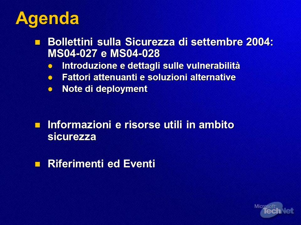 Documenti sulla sicurezza: aggiornamenti Windows XP Security Guide v2.0 (1° settembre 2004) Windows XP Security Guide v2.0 (1° settembre 2004) Aggiunta lAppendice A relativa a Windows XP SP2, per descrivere le sue caratteristiche e le impostazioni raccomandate Aggiunta lAppendice A relativa a Windows XP SP2, per descrivere le sue caratteristiche e le impostazioni raccomandate www.microsoft.com/technet/security/prodtech/winclnt/secwinx p/xpsgapa.mspx www.microsoft.com/technet/security/prodtech/winclnt/secwinx p/xpsgapa.mspx www.microsoft.com/technet/security/prodtech/winclnt/secwinx p/xpsgapa.mspx www.microsoft.com/technet/security/prodtech/winclnt/secwinx p/xpsgapa.mspx Antivirus Defense-in-Depth Guide (25 August 2004) Antivirus Defense-in-Depth Guide (25 August 2004) Aggiornata per descrivere i miglioramenti di sicurezza inclusi nel SP2 di Windows XP Aggiornata per descrivere i miglioramenti di sicurezza inclusi nel SP2 di Windows XP www.microsoft.com/technet/security/guidance/avdind_0.mspx www.microsoft.com/technet/security/guidance/avdind_0.mspx www.microsoft.com/technet/security/guidance/avdind_0.mspx Altra documentazione: www.microsoft.com/technet/security/default.mspx Altra documentazione: www.microsoft.com/technet/security/default.mspx www.microsoft.com/technet/security/default.mspx
