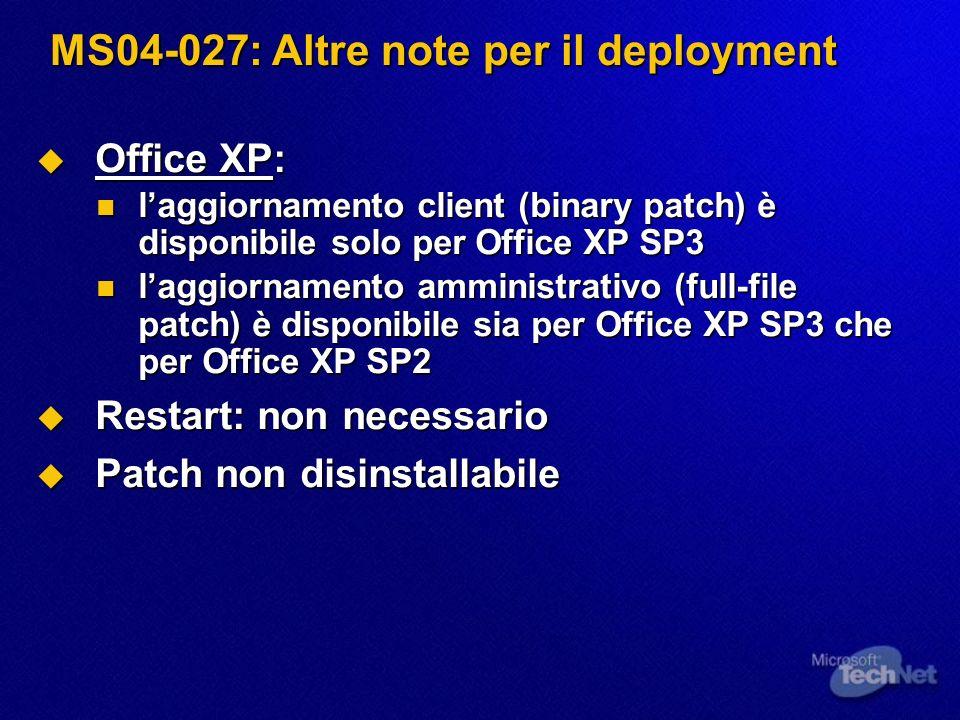MS04-028: Introduzione Buffer Overrun in JPEG Processing Could Allow Code Execution (833987) Buffer Overrun in JPEG Processing Could Allow Code Execution (833987) Effetti della vulnerabilità: esecuzione di codice da remoto Effetti della vulnerabilità: esecuzione di codice da remoto Livello di gravità massimo: Critico Livello di gravità massimo: Critico Software interessato : Software interessato : Microsoft Windows: Microsoft Windows: Windows XP, Windows XP SP1 e Windows XP 64-Bit SP1 Windows XP, Windows XP SP1 e Windows XP 64-Bit SP1 Windows Server 2003 e Windows Server 2003 64-Bit Windows Server 2003 e Windows Server 2003 64-Bit Microsoft Office: Microsoft Office: Office XP SP3/SP2, Office 2003 e prodotti inclusi Office XP SP3/SP2, Office 2003 e prodotti inclusi Project 2002 SP1, Project 2003 Project 2002 SP1, Project 2003 Visio 2002 SP2, Visio 2003 Visio 2002 SP2, Visio 2003