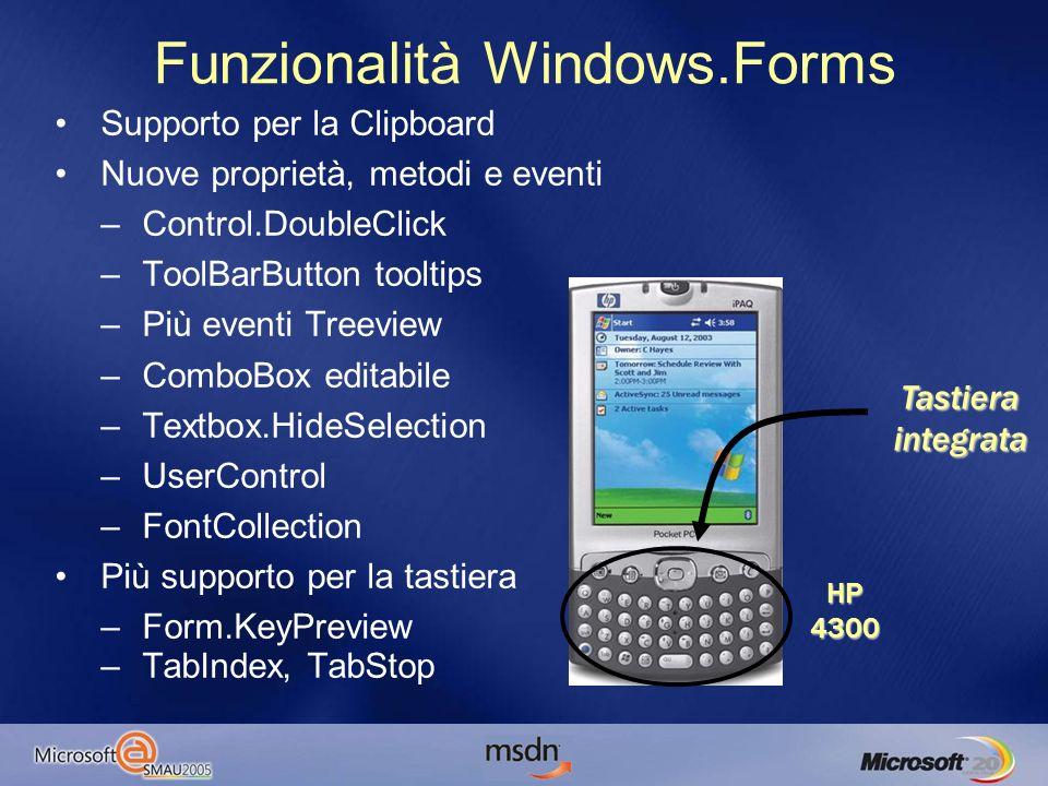 Supporto per la Clipboard Nuove proprietà, metodi e eventi –Control.DoubleClick –ToolBarButton tooltips –Più eventi Treeview –ComboBox editabile –Textbox.HideSelection –UserControl –FontCollection Più supporto per la tastiera –Form.KeyPreview –TabIndex, TabStop Funzionalità Windows.Forms HP4300 Tastiera integrata