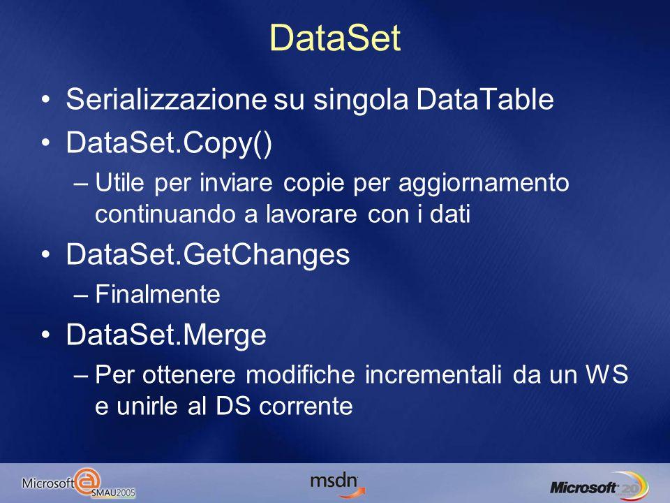 DataSet Serializzazione su singola DataTable DataSet.Copy() –Utile per inviare copie per aggiornamento continuando a lavorare con i dati DataSet.GetChanges –Finalmente DataSet.Merge –Per ottenere modifiche incrementali da un WS e unirle al DS corrente
