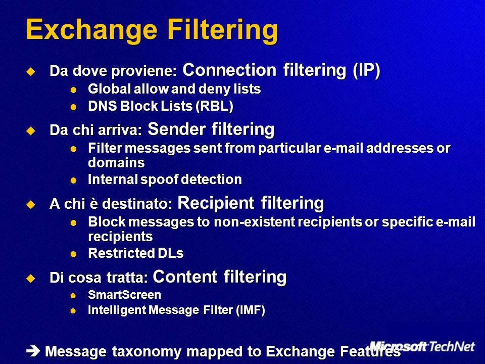 Exchange Filtering Da dove proviene: Connection filtering (IP) Da dove proviene: Connection filtering (IP) Global allow and deny lists Global allow and deny lists DNS Block Lists (RBL) DNS Block Lists (RBL) Da chi arriva: Sender filtering Da chi arriva: Sender filtering Filter messages sent from particular e-mail addresses or domains Filter messages sent from particular e-mail addresses or domains Internal spoof detection Internal spoof detection A chi è destinato: Recipient filtering A chi è destinato: Recipient filtering Block messages to non-existent recipients or specific e-mail recipients Block messages to non-existent recipients or specific e-mail recipients Restricted DLs Restricted DLs Di cosa tratta: Content filtering Di cosa tratta: Content filtering SmartScreen SmartScreen Intelligent Message Filter (IMF) Intelligent Message Filter (IMF) Message taxonomy mapped to Exchange Features Message taxonomy mapped to Exchange Features