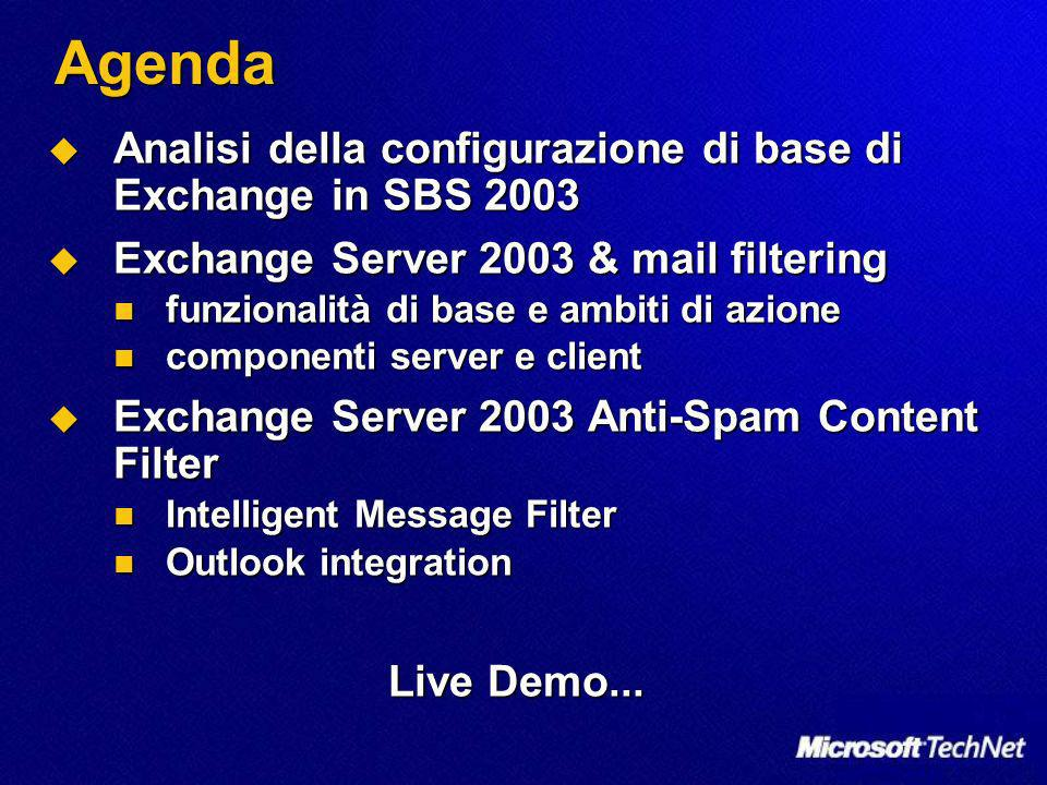 Agenda Analisi della configurazione di base di Exchange in SBS 2003 Analisi della configurazione di base di Exchange in SBS 2003 Exchange Server 2003 & mail filtering Exchange Server 2003 & mail filtering funzionalità di base e ambiti di azione funzionalità di base e ambiti di azione componenti server e client componenti server e client Exchange Server 2003 Anti-Spam Content Filter Exchange Server 2003 Anti-Spam Content Filter Intelligent Message Filter Intelligent Message Filter Outlook integration Outlook integration Live Demo...
