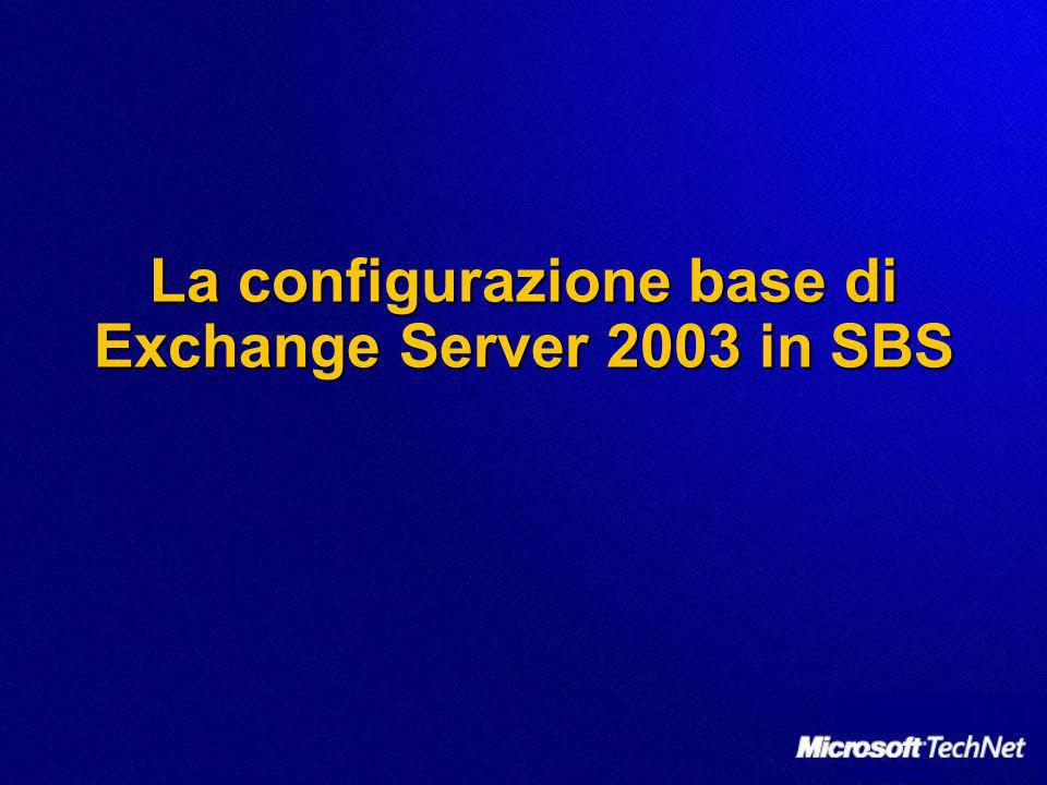 La configurazione base di Exchange Server 2003 in SBS