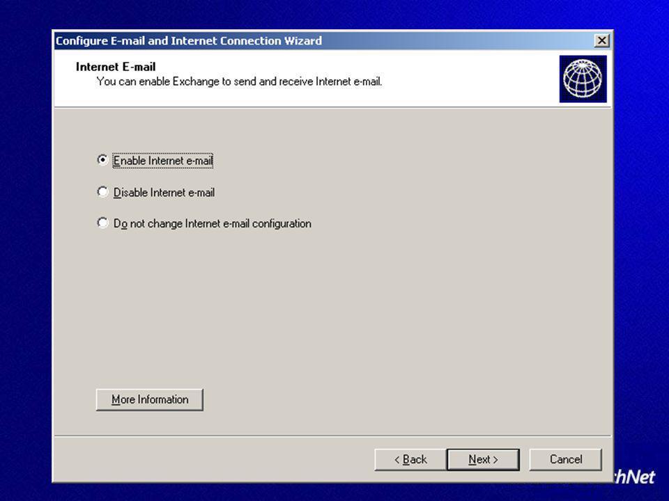 Microsoft Exchange Intelligent Message Filter Si amministra con unestensione di Exchange System Manager Console Si amministra con unestensione di Exchange System Manager Console Aggiornabile Aggiornabile E un componente di Front-End (no cluster setup) E un componente di Front-End (no cluster setup) http://www.microsoft.com/exchange/imf