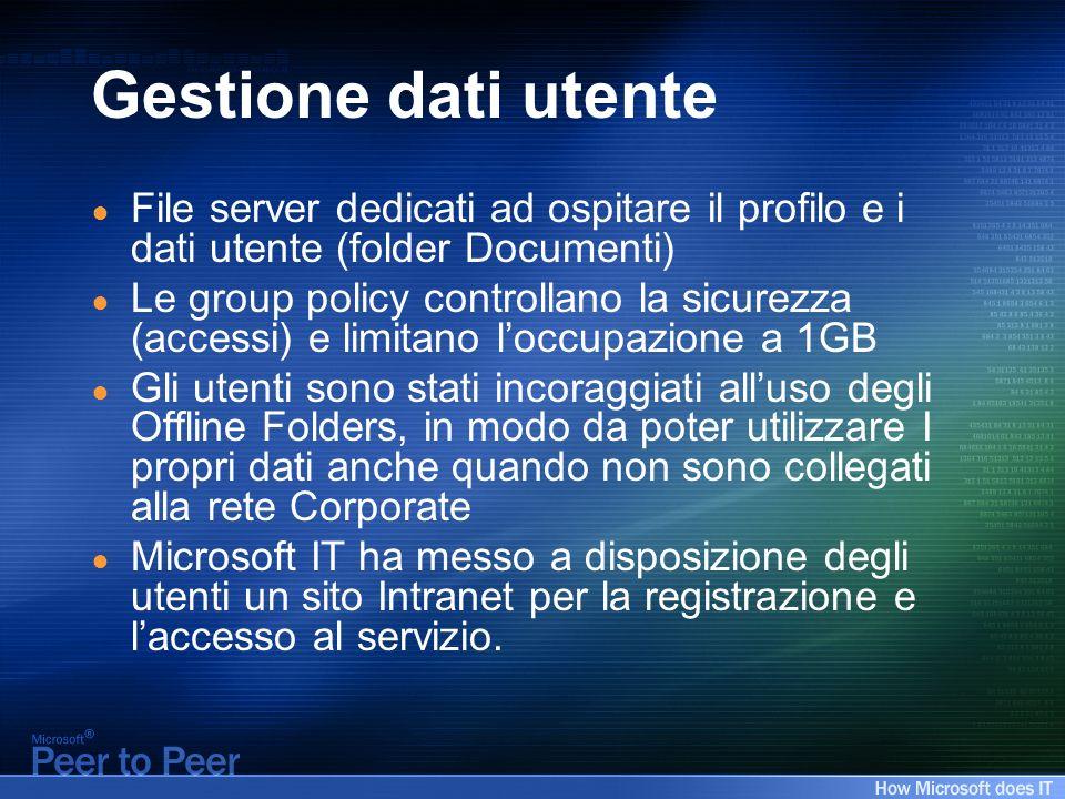 Gestione dati utente File server dedicati ad ospitare il profilo e i dati utente (folder Documenti) Le group policy controllano la sicurezza (accessi)