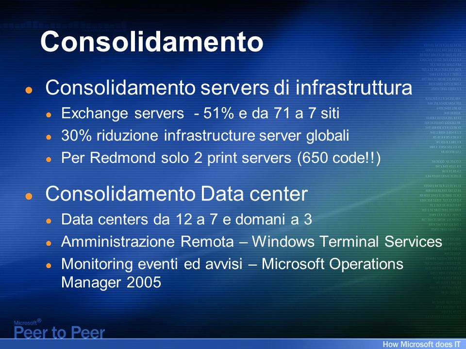 Consolidamento Consolidamento servers di infrastruttura Exchange servers - 51% e da 71 a 7 siti 30% riduzione infrastructure server globali Per Redmond solo 2 print servers (650 code!!) Consolidamento Data center Data centers da 12 a 7 e domani a 3 Amministrazione Remota – Windows Terminal Services Monitoring eventi ed avvisi – Microsoft Operations Manager 2005