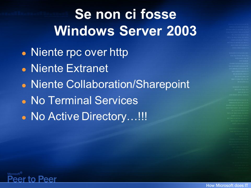 Se non ci fosse Windows Server 2003 Niente rpc over http Niente Extranet Niente Collaboration/Sharepoint No Terminal Services No Active Directory…!!!